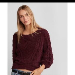 Express loose cable knit maroon sweater